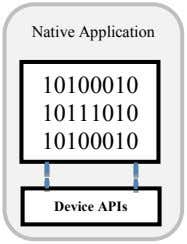 Native Application 10100010 10111010 10100010 Device APIs