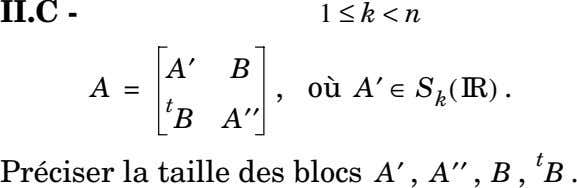 II.C - On suppose que 1 ≤ k < n et on écrit A′ B