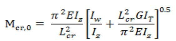 centre and subject to uniform moment is given by equation: For uniform doubly-symmetric cross-sections, loaded through
