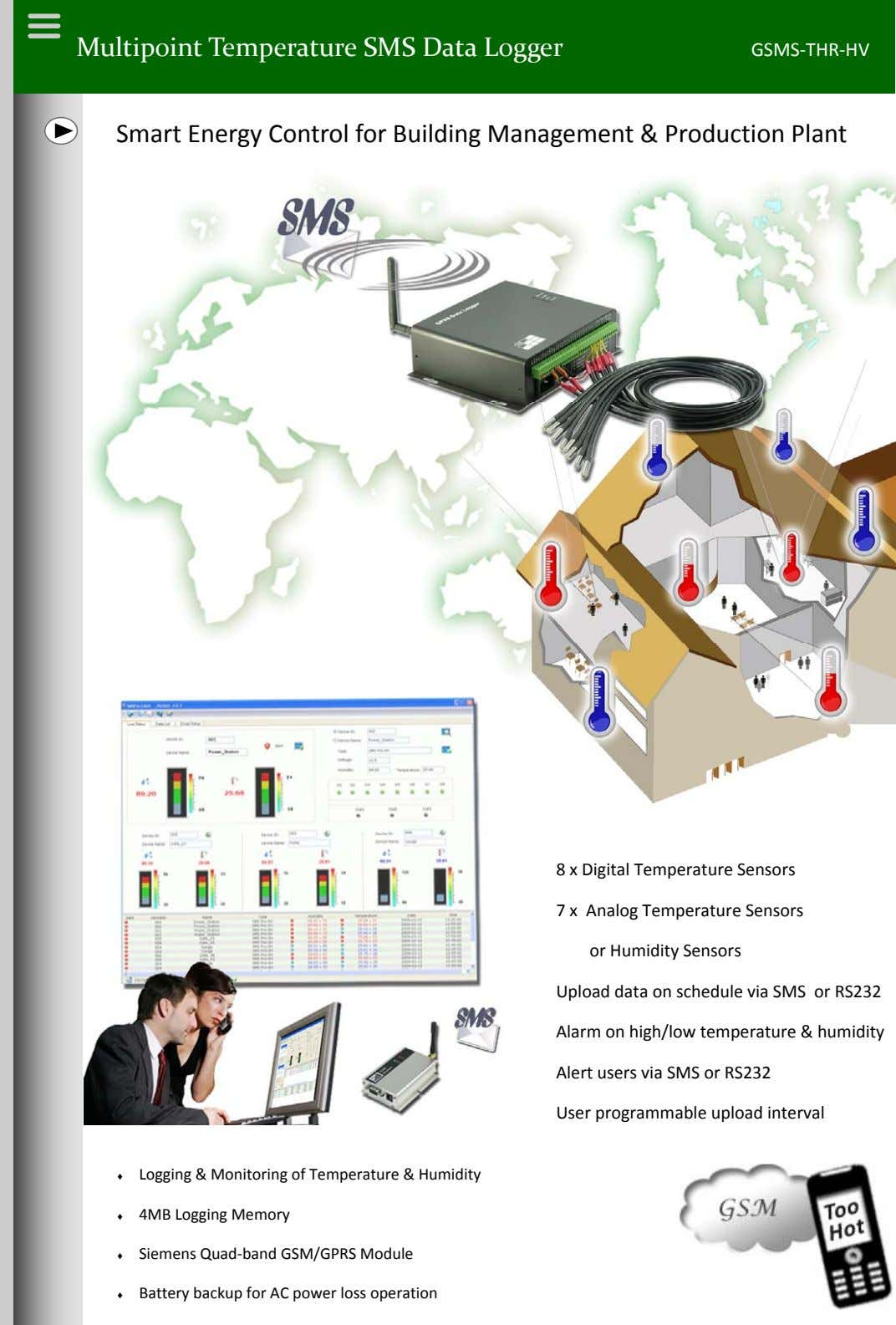 Multipoint Temperature SMS Data Logger GSMS ‐THR ‐HV Smart Energy Control for Building Management &