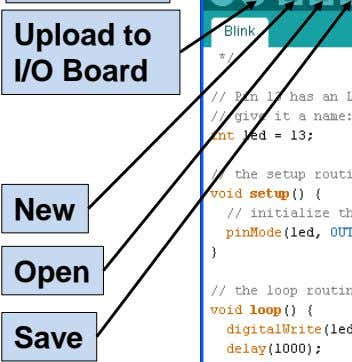 Upload to I/O Board New Open Save
