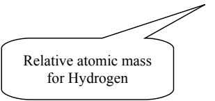 Relative atomic mass for Hydrogen