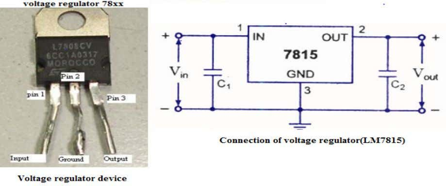Fig.7.8 Voltage regulator LM7815 The voltage regulator LM7815 is used in this project and connected