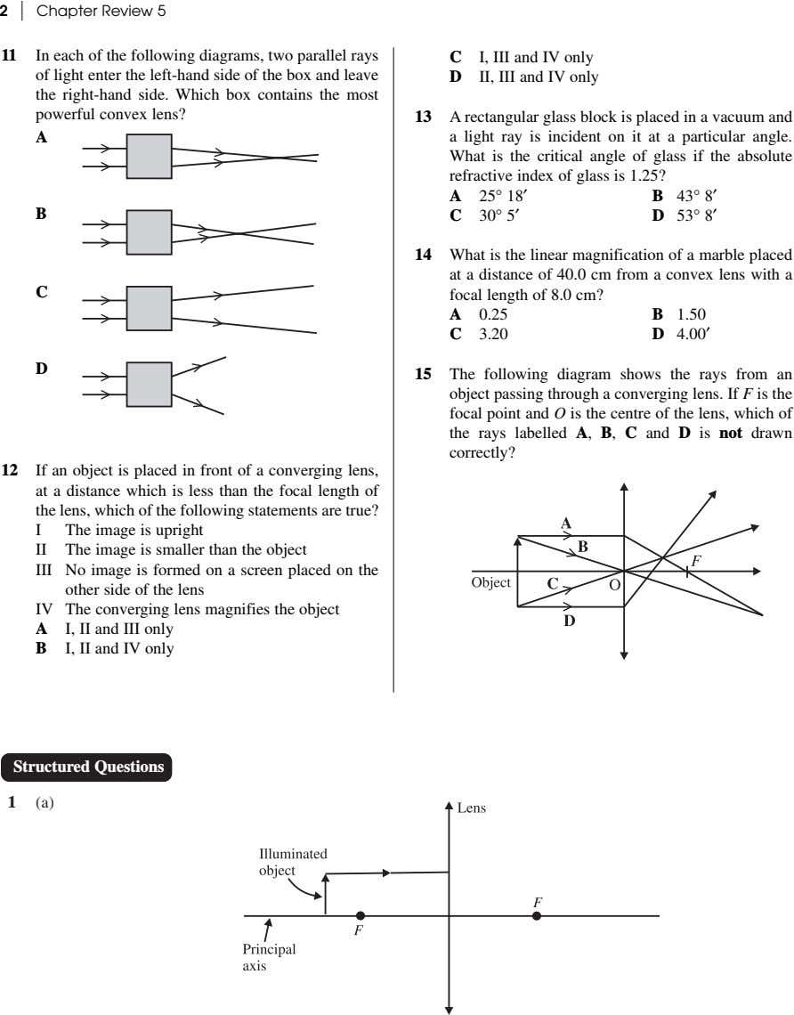 2 Chapter Review 5 11 In each of the following diagrams, two parallel rays C