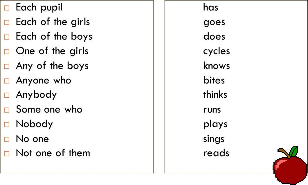  Each pupil has  Each of the girls goes  Each of the boys