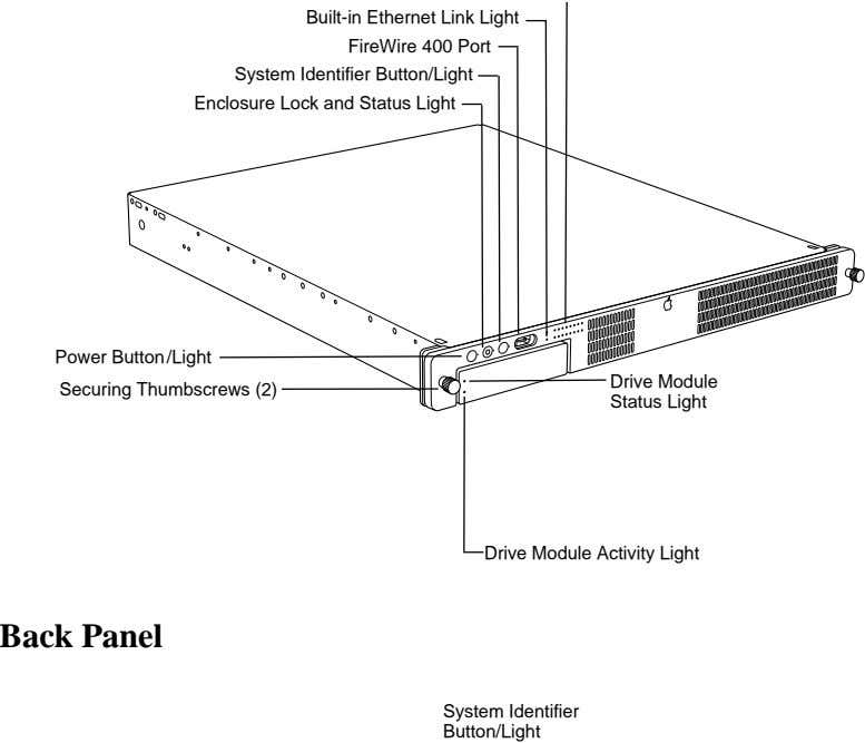 Built-in Ethernet Link Light FireWire 400 Port System Identifier Button/Light Enclosure Lock and Status Light