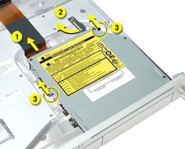 top of the front bezel that covers the optical drive slot. 4. LIft the drive out