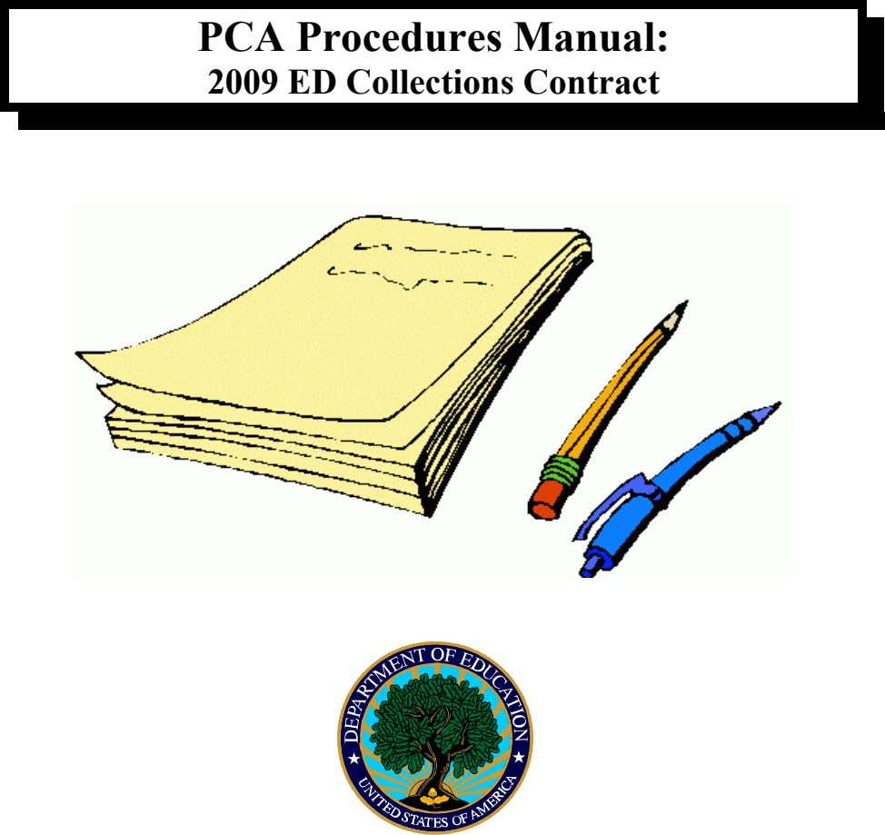 PCA Procedures Manual: 2009 ED Collections Contract