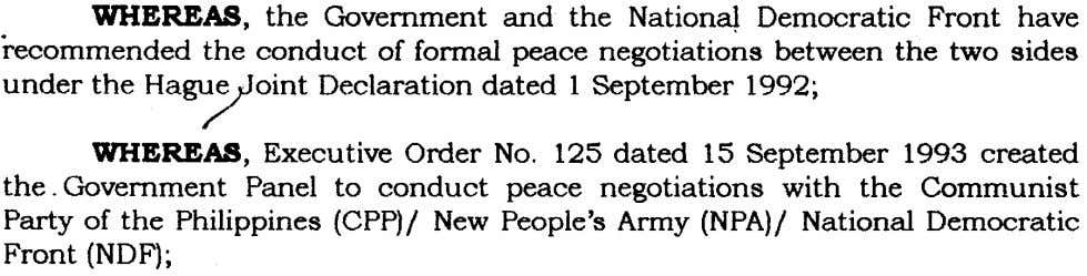 WHEREAS, the Government and the NationaJ Democratic Front the conduct of formal peace negotiations between