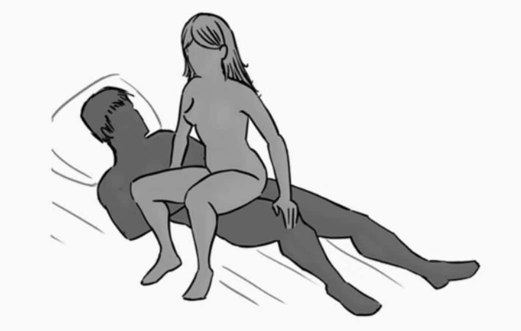 11. Side- rider: Here is a position that offers an exciting angle. The woman squats