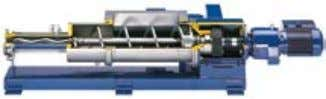 combined with a feeding hopper. The type of pump depends on Agitated feed hopper Specially-designed feed