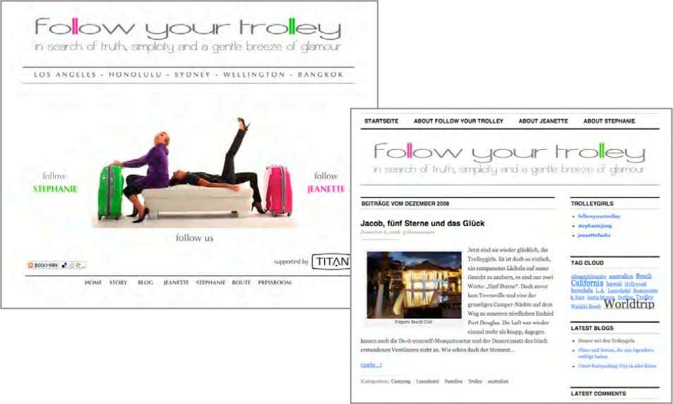 PROJEKT 'follow your trolley' www.follow-your-trolley.com  Website und Blog anlässlich eines Weltreiseprojektes