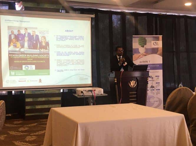 NEWSLETTER John Kabuye Kalungi - KGBS Vice-Chairperson delivers a presentation during the event. Kenya Green Building