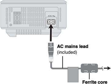 AC IN AC mains lead (included) Ferrite core