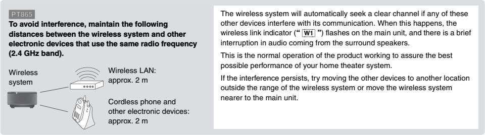 [PT865] To avoid interference, maintain the following distances between the wireless system and other electronic