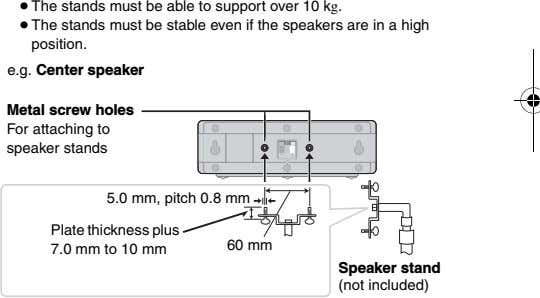 ≥ The stands must be able to support over 10 kg. ≥ The stands must