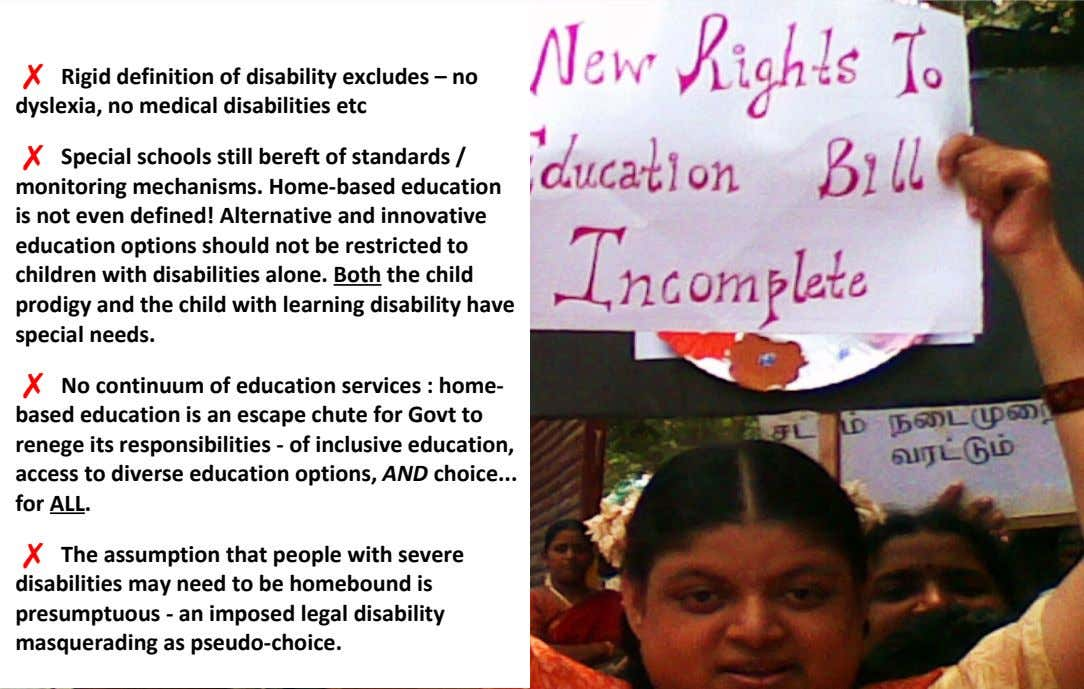 ✗ Rigid definition of disability excludes – no dyslexia, no medical disabilities etc ✗ Special