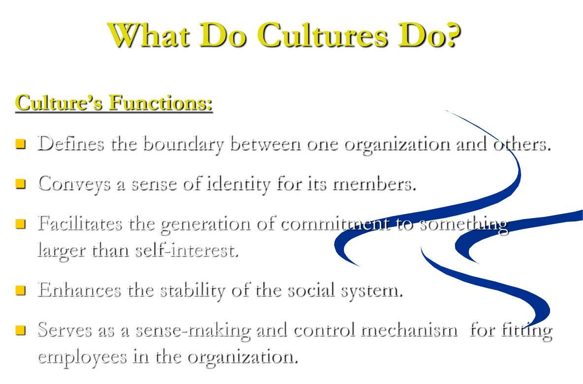 What Do Cultures Do? Culture's Functions:  Defines the boundary between one organization and others. 