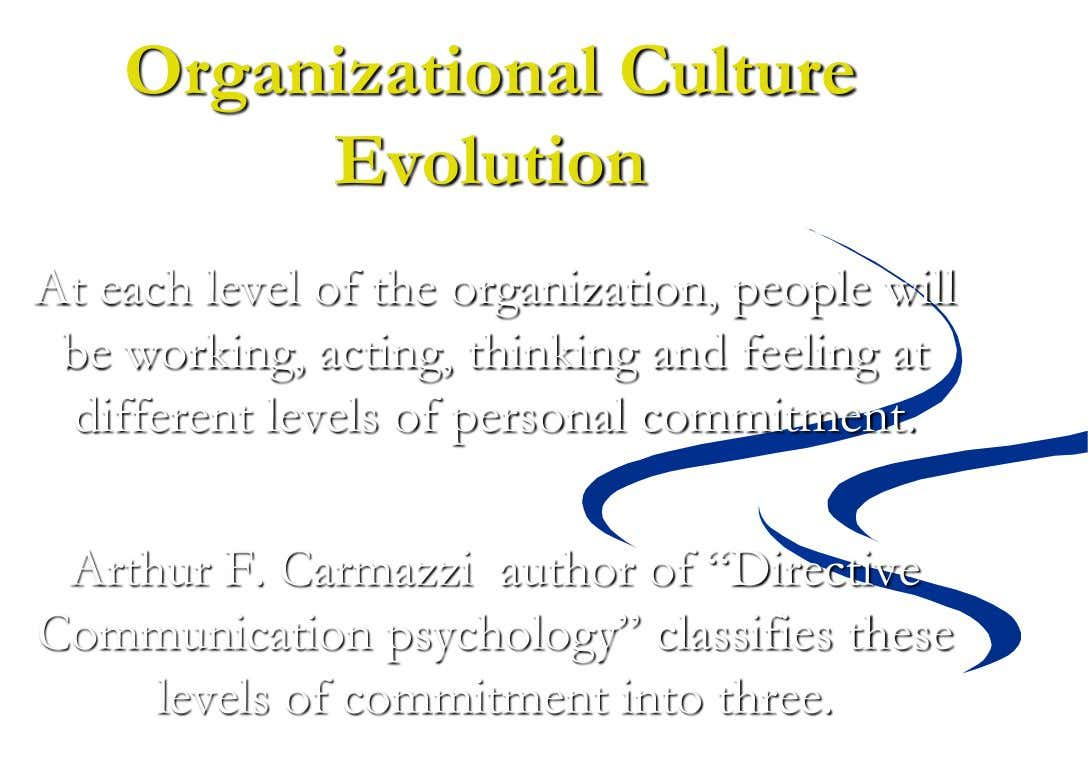 Organizational Culture Evolution At each level of the organization, people will be working, acting, thinking and