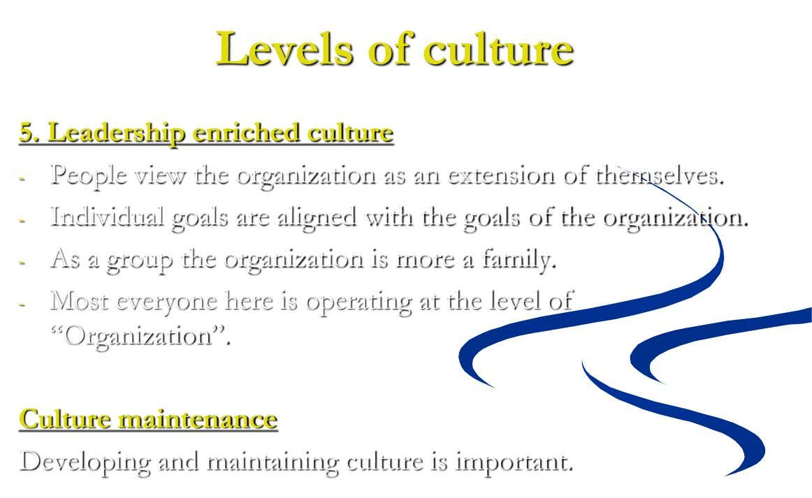 Levels of culture 5. Leadership enriched culture - People view the organization as an extension of