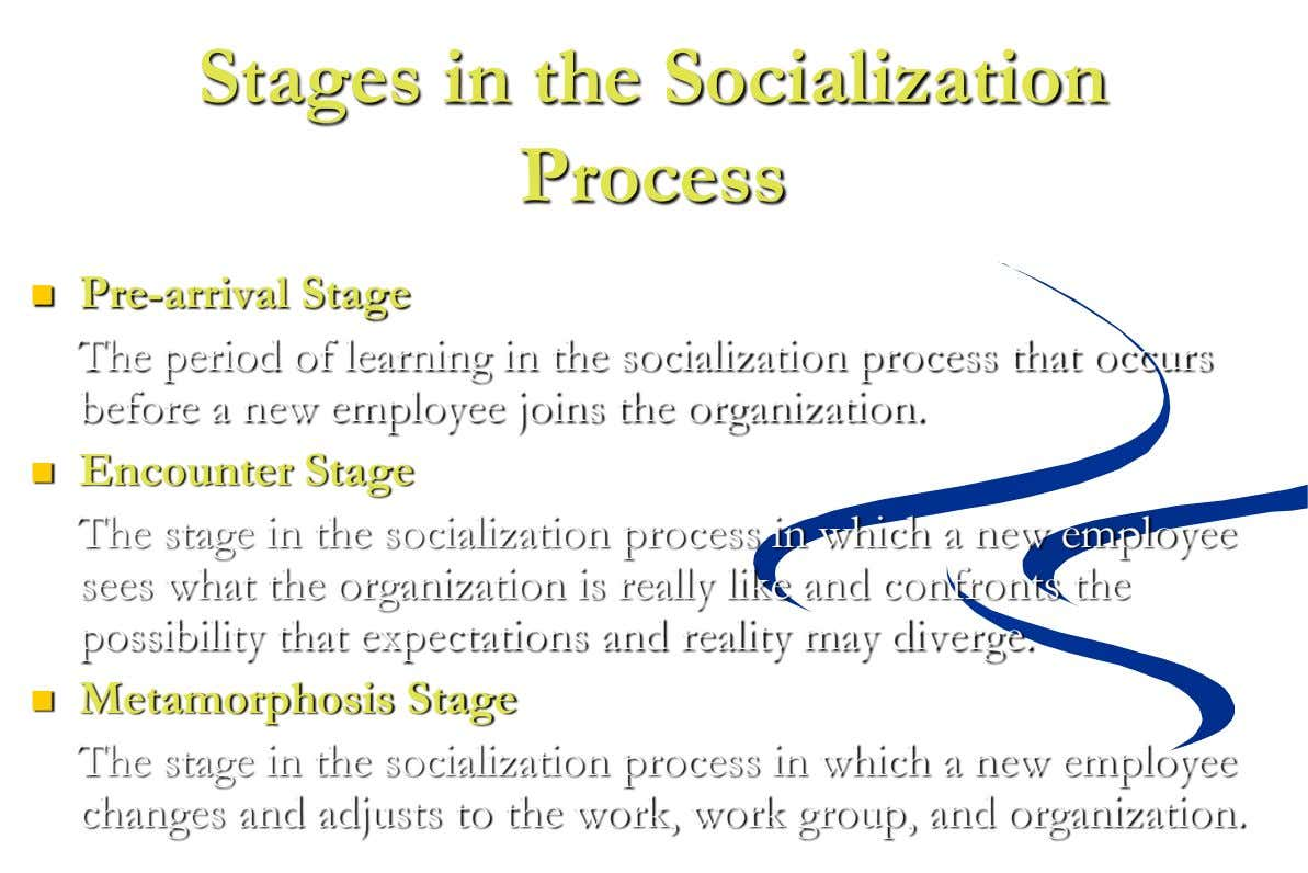Stages in the Socialization Process  Pre-arrival Stage The period of learning in the socialization process