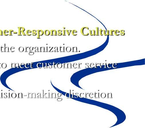 Creating a Customer-Responsive Culture  Key Variables Shaping Customer-Responsive Cultures • The types of employees hired