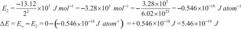 example the final state has n f = ∞ and E f = 0 Energy of