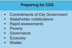 Resources • Results and Impacts Monitoring and Feedback Preparing for CDS • Commitments of City Government