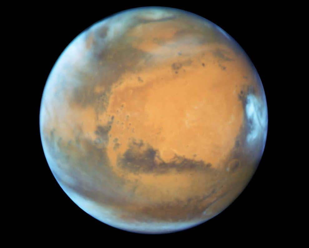 This Hubble image was taken on May 12, 2016, when Mars was only 50 million miles