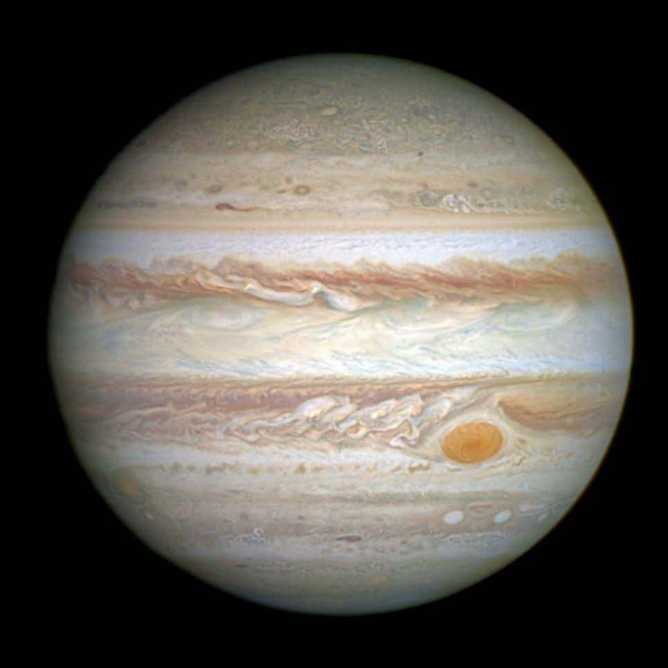 Jupiter Jupiter is wrapped in clouds of ammonia crystals that form a striped appearance with yellow,