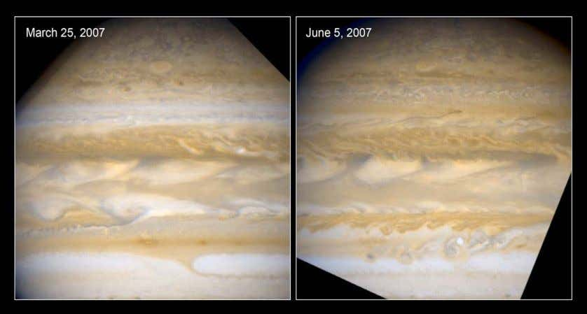 With a meager axial tilt of just 3 degrees, Jupiter has practically no seasonal changes. Instead,