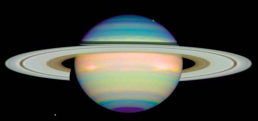 Hubble provided high-resolution images of Saturn ' s deeper cloud structure by photographing the planet at