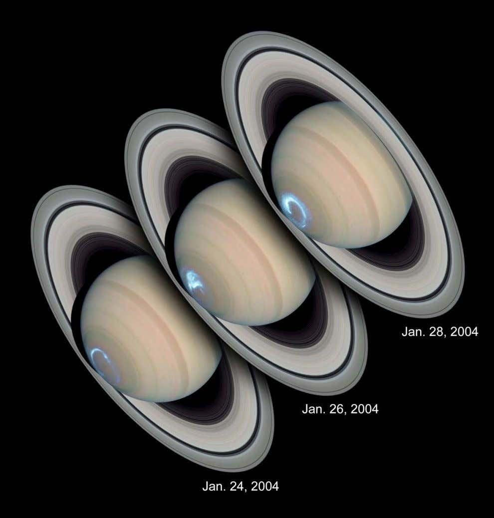 Hubble snapped a series of photographs of auroras dancing around Saturn ' s southern pole over