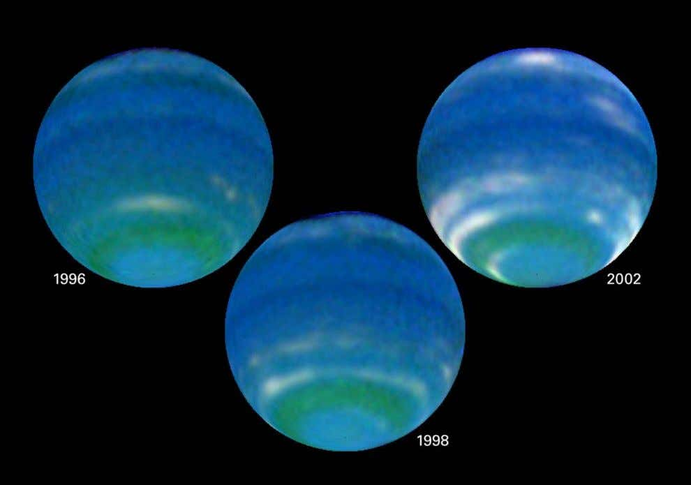 Hubble observations revealed an increase in Neptune ' s brightness in the southern hemisphere due to