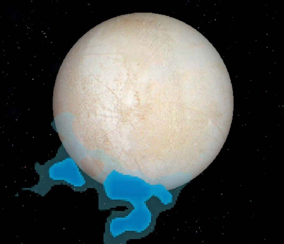 This graphic shows the location of water vapor observed by Hubble over Europa ' s south