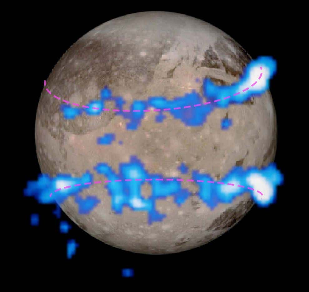 Hubble observations in ultraviolet light reveal a pair of auroral belts encircling Ganymede. In this illustration,