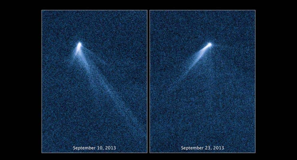 Hubble first spotted multiple comet-like tails from the asteroid P/2013 P5 on September 10, 2013. The