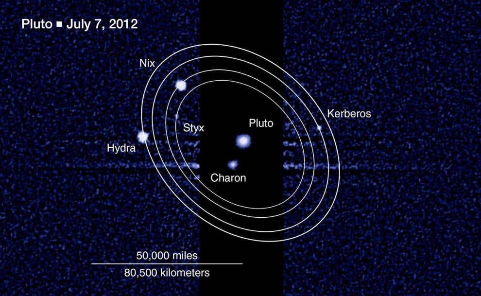 Hubble discovered two small moons orbiting Pluto and Charon, named Nix and Hydra, in 2005 and