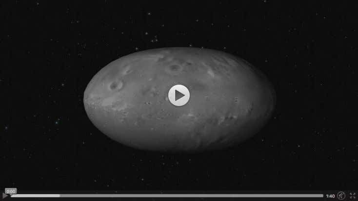 This computer animation shows how the moon Nix wobbles as it orbits Pluto and Charon. The