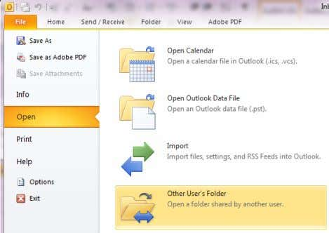 another users Mailbox go to File > Open > Other Users Folder You will be presented