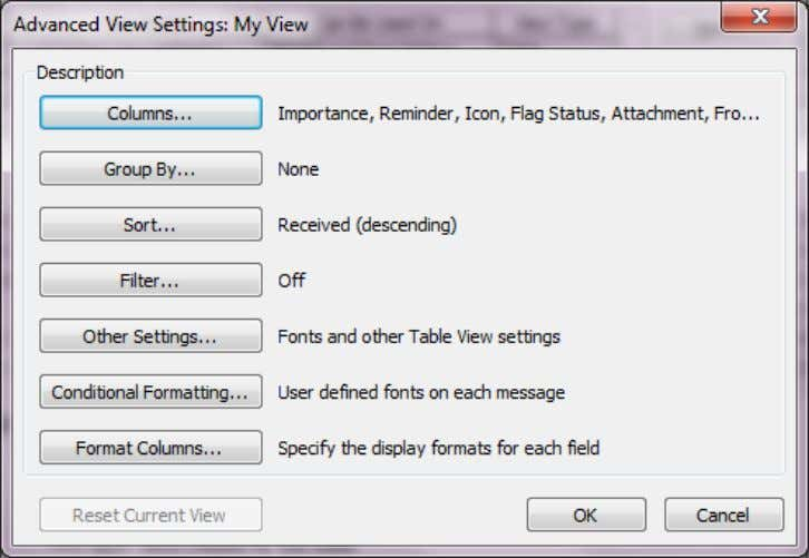 From the Advanced View Settings choose Columns. Select the Fields by highlighting them and clicking Add