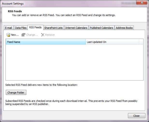 Outlook go to File > Account Settings > Account Settings Choose the RSS Feeds Tab. Click