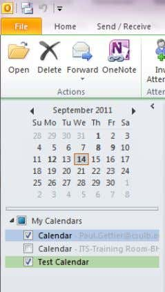 the new Calendar appears in your calendar Navigation Pane. Also notice that when viewing the folder