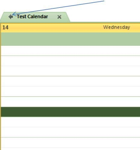 Calendar, in this example that would be the Test Calendar: Once you have clicked this Arrow