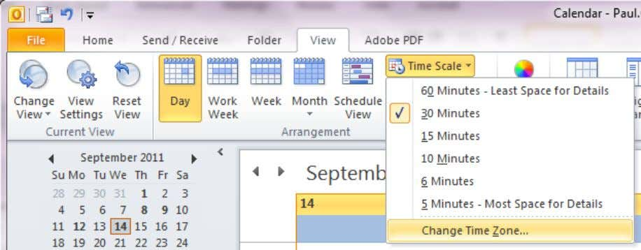 Calendar go to View > Time Scale > Change Time Zone You will be presented with