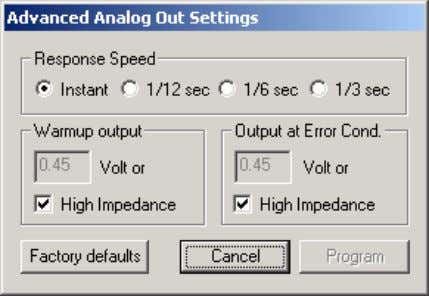 analog out settings. The following dialog box will appear: When setting the LM-1 to the slower