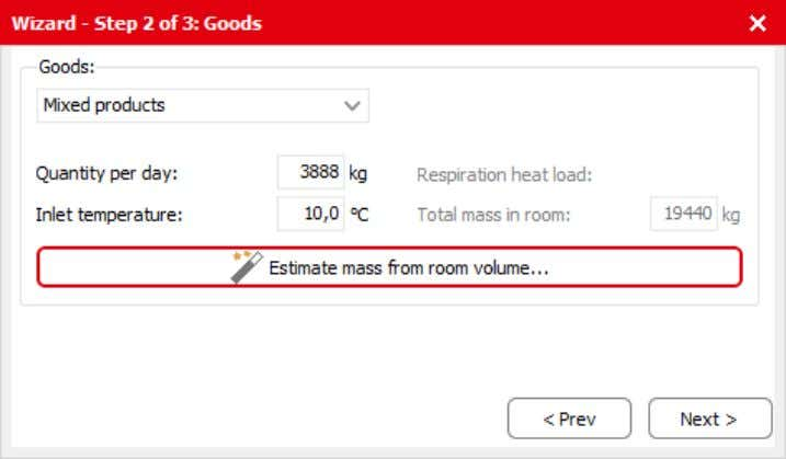 heat load is calculated based on the total mass of goods in the room. Figure 3.5