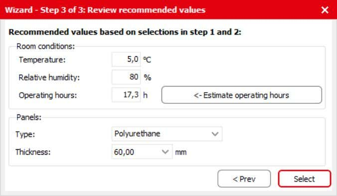 Here in the first step, the operating hours are estimated: Figure 3.6 Reviewing recommended values Important: