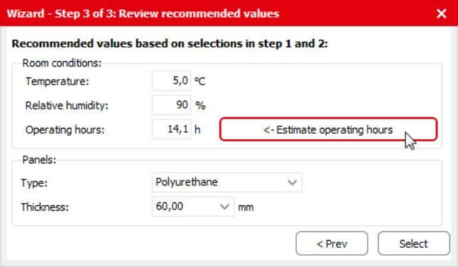 "you click ""Estimate operating hours"" to re - calculate. Figure 3.7 Recalculating the estimated operating hours"