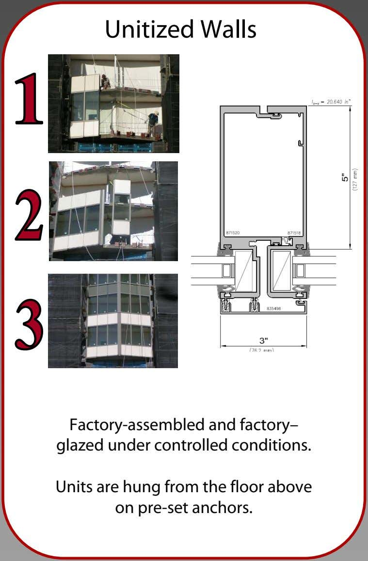 Unitized Walls Factory-assembled and factory– glazed under controlled conditions. Units are hung from the floor